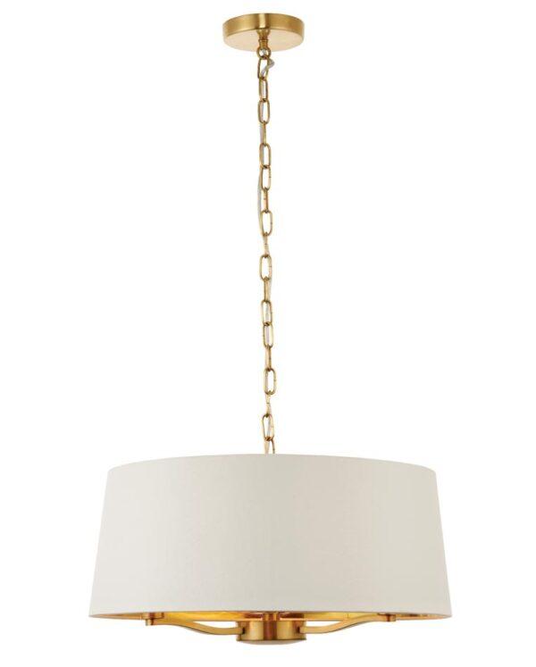 Endon Harvey 3 Light Ceiling Pendant White Shade Satin Gold