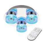 Endon Rita Dimming 3 LED Remote RGB Bathroom Ceiling Light Chrome