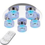 Endon Rita Dimming 5 LED Remote RGB Bathroom Ceiling Light Chrome