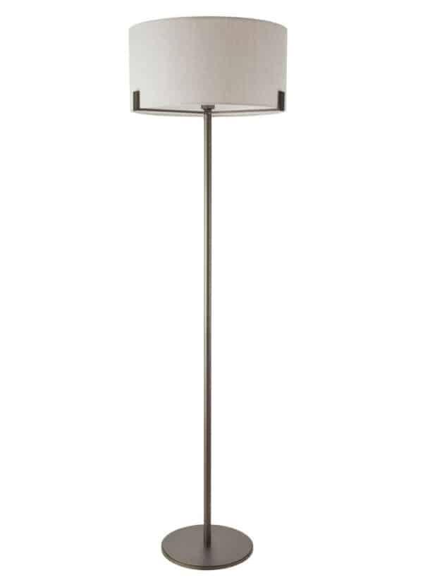 Endon Hayfield Floor Lamp Standard Natural Linen Shade Brushed Bronze