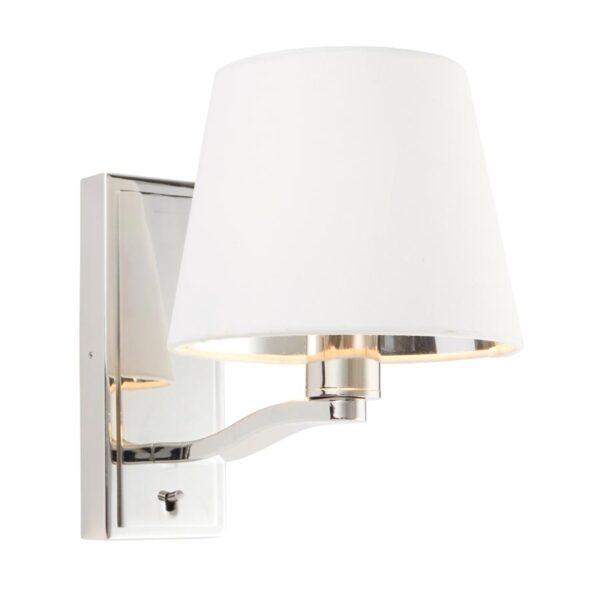 Endon Harvey Switched Single Wall Light White Shade Polished Nickel
