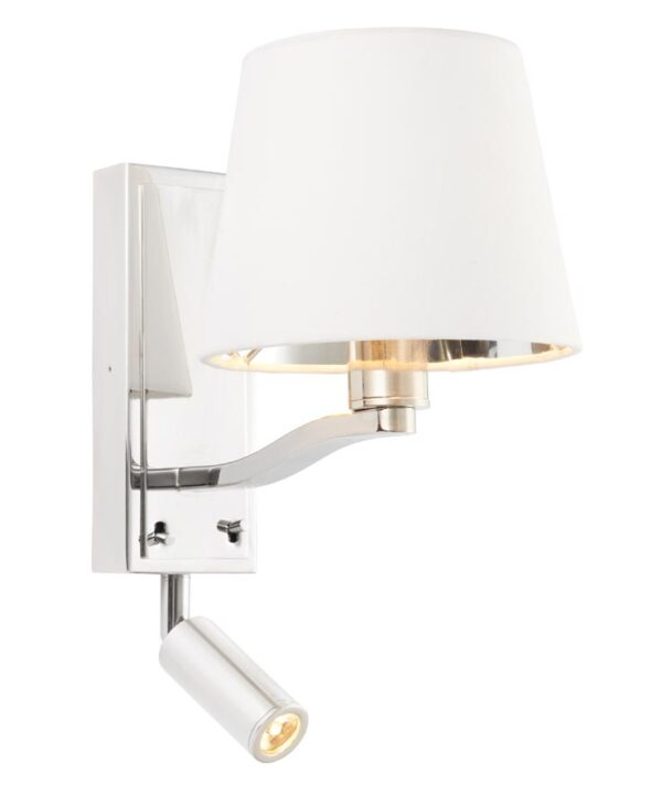 Harvey Switched Bedside Wall Light LED Reading Lamp Polished Nickel