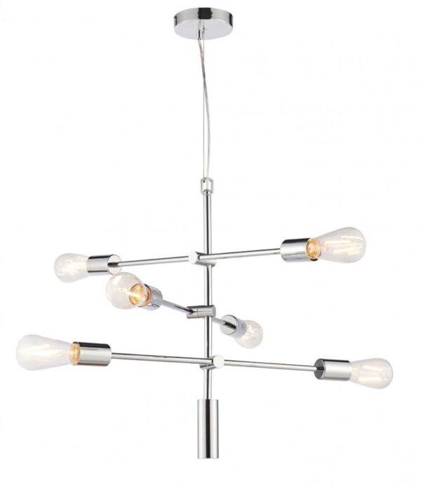 Rubens 6 Light Industrial Style Pendant Ceiling Light Chrome