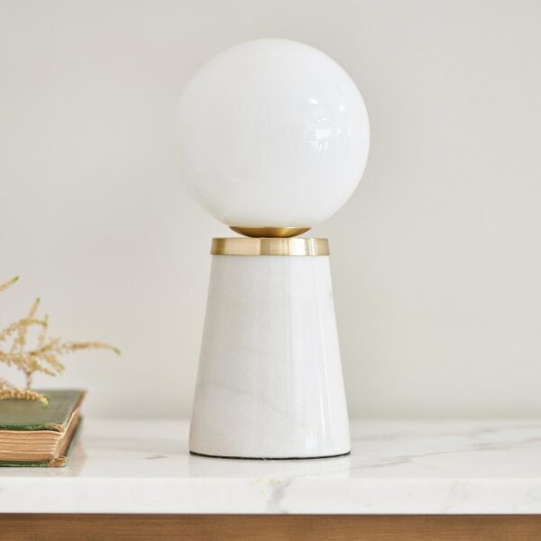 Otto Tapered 1 Lamp White Marble Table Light Opal Glass Globe Shade