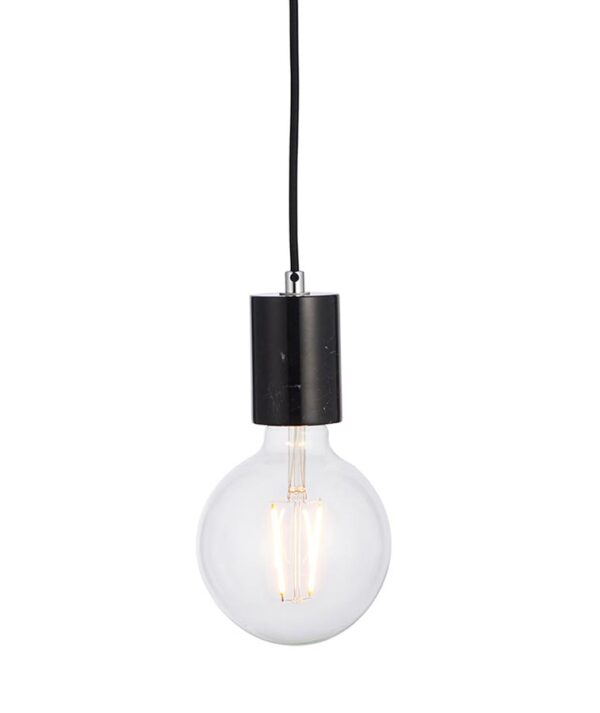Endon Collection Otto 1 Light Black Marble Bare Bulb Ceiling Pendant