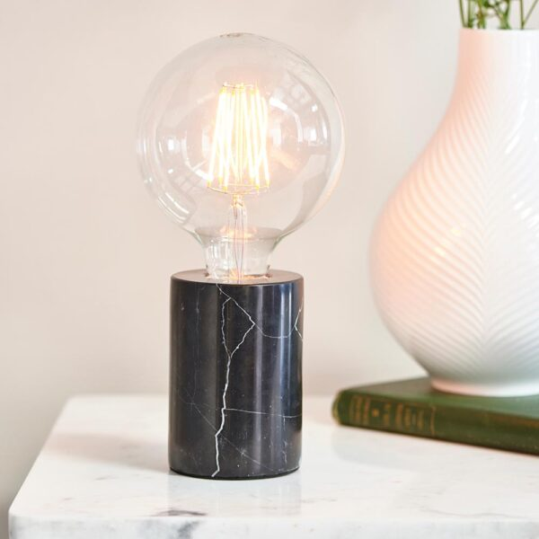 Otto small black marble cylinder table light for bare bulb main image