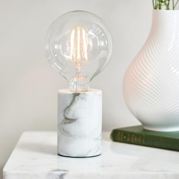 Otto small white marble cylinder table light for bare bulb main image