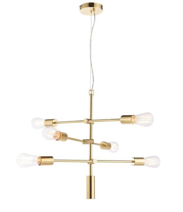 Rubens 6 Light Industrial Pendant Ceiling Light Brushed Brass