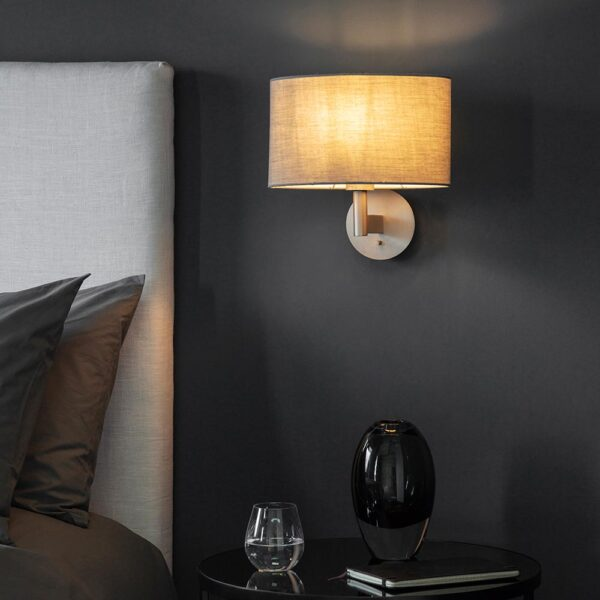 Endon Owen switched bedside wall light matt nickel & grey cotton oval shade roomset