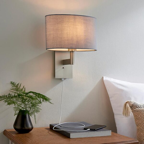 Endon Owen switched USB bedside wall light matt nickel & grey cotton oval shade roomset