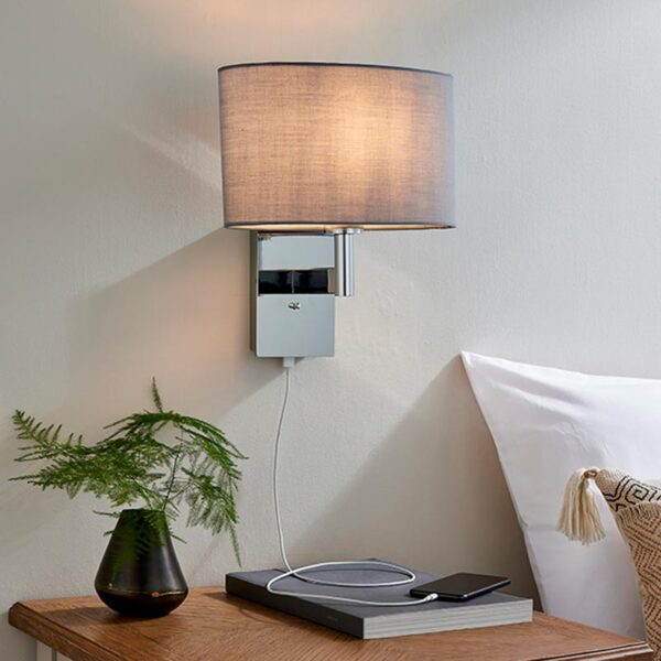 Endon Owen switched USB bedside wall light chrome & grey cotton oval shade roomset