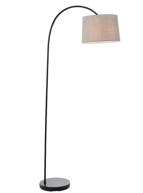 Carlson 1 Light Modern Floor Lamp Matt Black Light Grey Shade