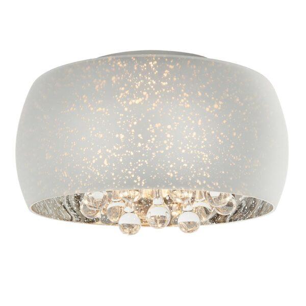 Endon Eclipse chrome glass 3 lamp flush ceiling light glass drops main image