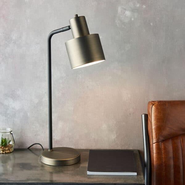 Mayfiled retro style desk reading lamp matt black & bronze roomset
