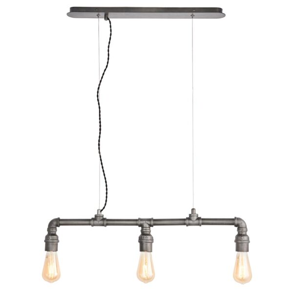 Pipe 3 Light Steampunk Pendant Ceiling Light Aged Pewter