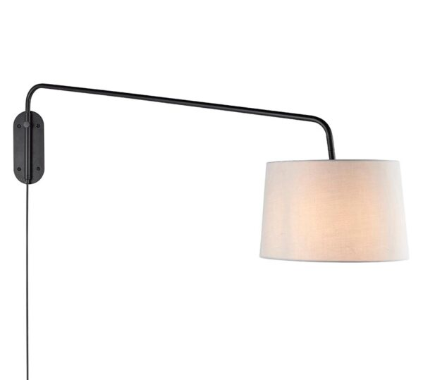 Carlson Large Switched Plug In 1 Light Swing Arm Wall Light Black