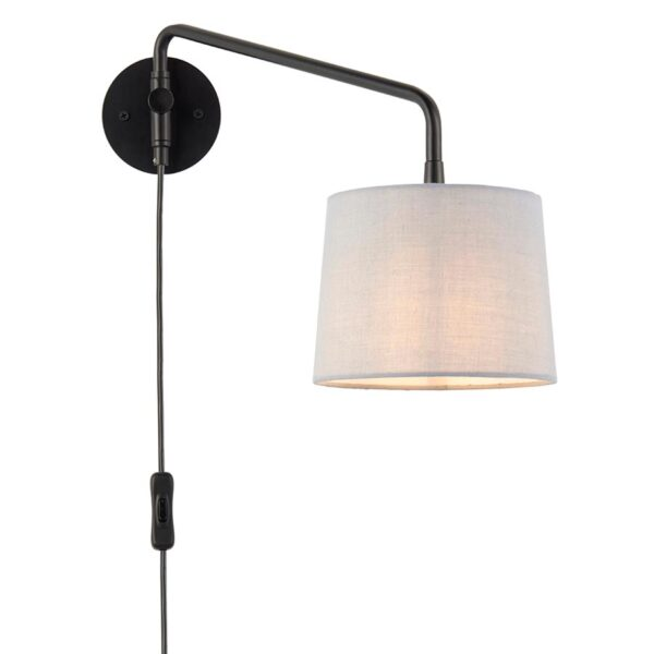 Carlson Switched Plug In 1 Light Swing Arm Wall Light Black
