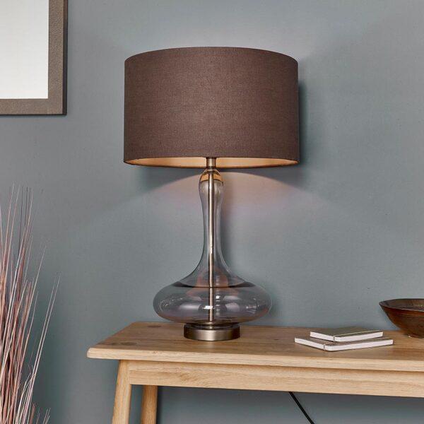 Caia 1 Light Smoked Grey Glass Table Lamp Dark Charcoal Shade
