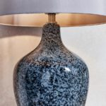 Ilsa 1 Light Speckled Grey Black Glass Table Lamp Mink Shade