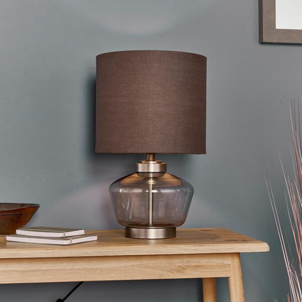 Zen 1 Light Smoked Grey Glass Table Lamp Charcoal Shade