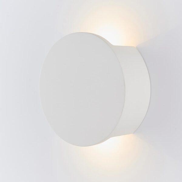 Endon Sanna Modern Backlit LED Round White Plaster Wall Washer Light