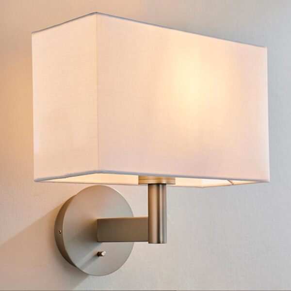 Endon Owen switched bedside wall light in nickel & rectangular white cotton shade main image