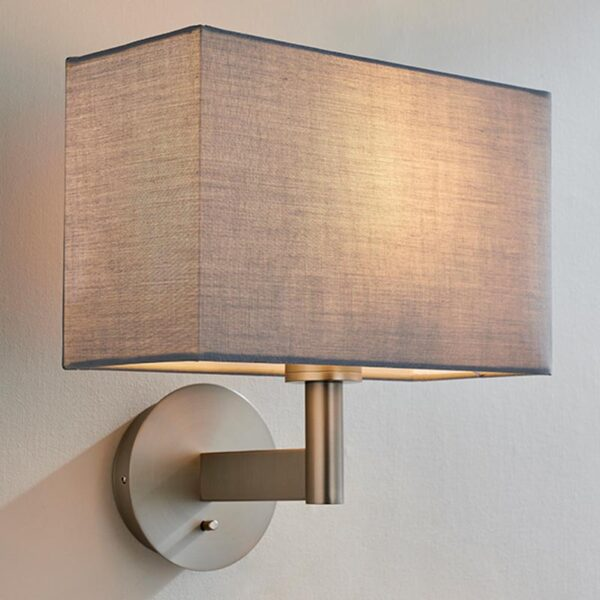 Endon Owen switched bedside wall light in nickel & rectangular grey cotton shade main image