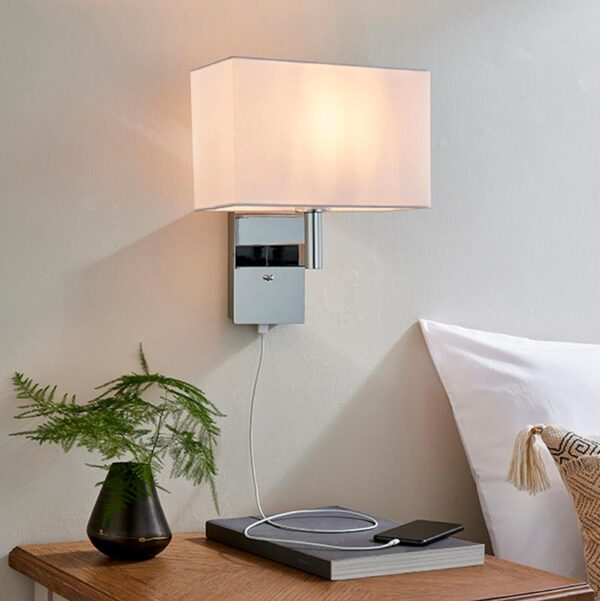 Endon Owen switched USB bedside wall light chrome & rectangular white cotton shade roomset