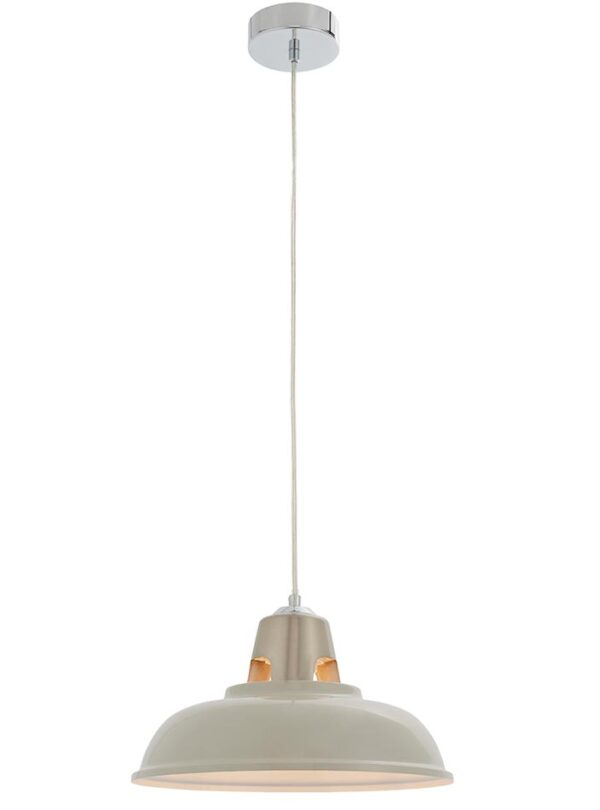 Henley Industrial Style Ceiling Pendant Light Shade Gloss Taupe