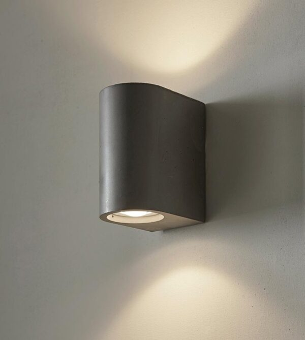 Endon Collection Anders 2 lamp LED grey concrete cylinder wall washer light main image