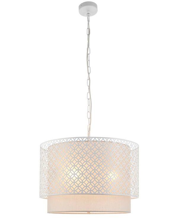 Gilli 3 Light Ceiling Pendant Chalk White Vintage Linen Shade
