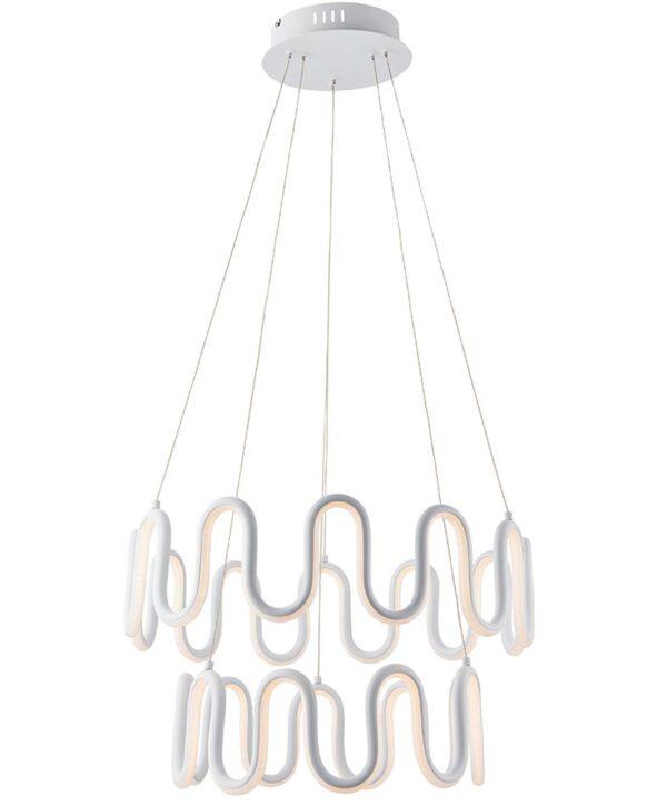 Endon Cern 2 Light Dimmable LED Ceiling Pendant White