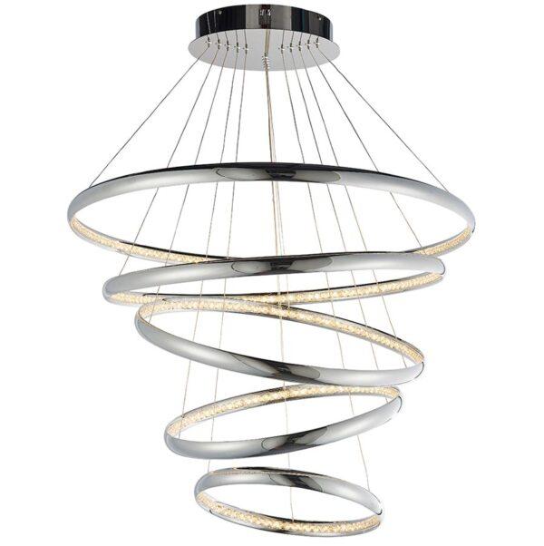 Endon Ozias Dimmable 5 Light LED Ceiling Pendant Chrome Crystal
