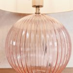 Endon Jemma 1 Light Pink Ribbed Glass Table Lamp Base Only