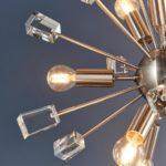 Endon Miro 9 Light Ceiling Pendant Satin Nickel Crystal Cubes