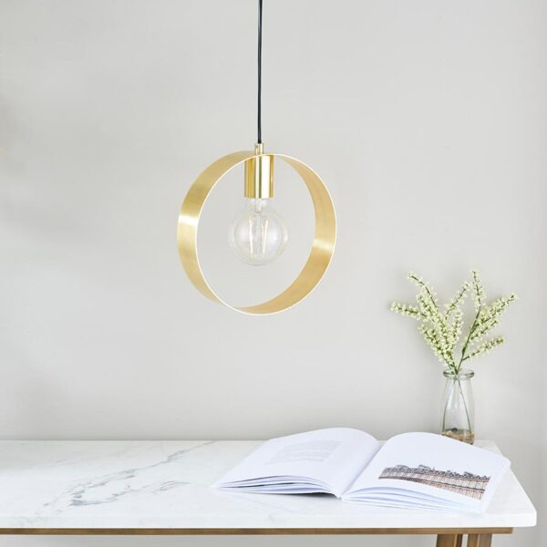 Endon Hoop Contemporary 1 Light Ceiling Pendant Brushed Brass