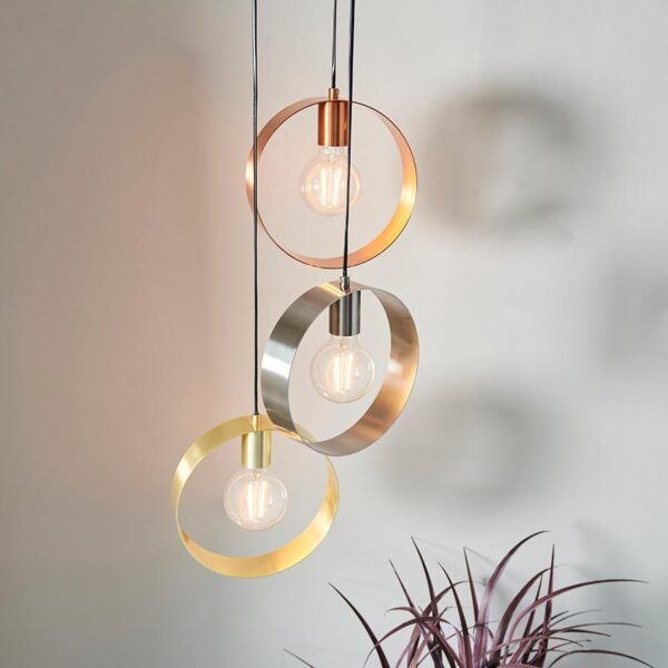 Endon Hoop Contemporary 3 Light Ceiling Pendant Multi Plated Finish