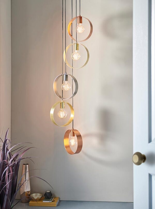 Endon Hoop Contemporary 5 Light Ceiling Pendant Multi Plated Finish