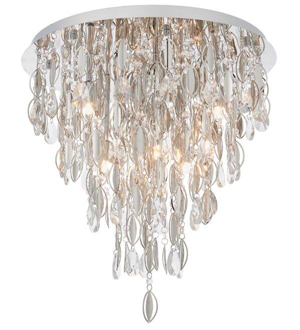 Endon Melody 6 Light Flush Crystal Ceiling Light Polished Chrome
