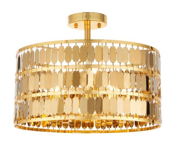 Endon Eldora 3 Lamp Modern Flush Mount Ceiling Light Gold