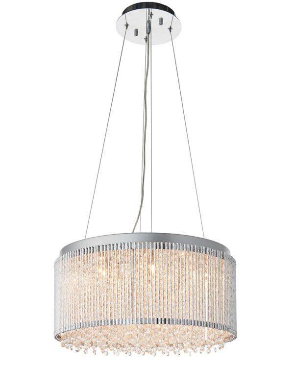 Endon Galina 12 Light Drum Ceiling Pendant Chrome Rods Crystal