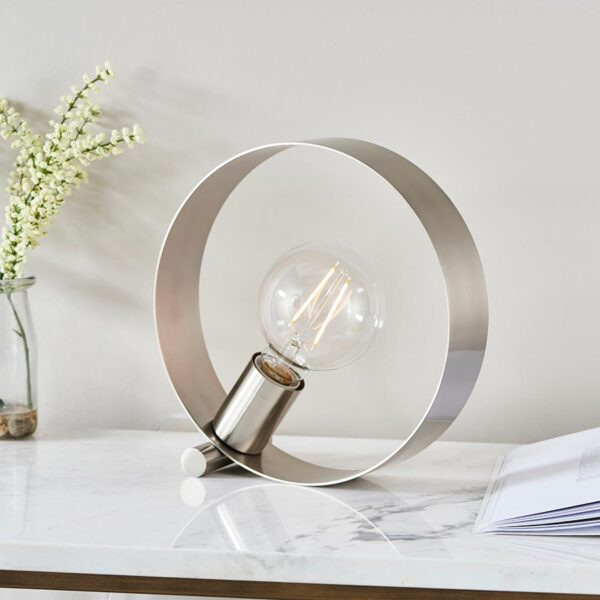 Endon Hoop Contemporary 1 Light Table Lamp Brushed Nickel