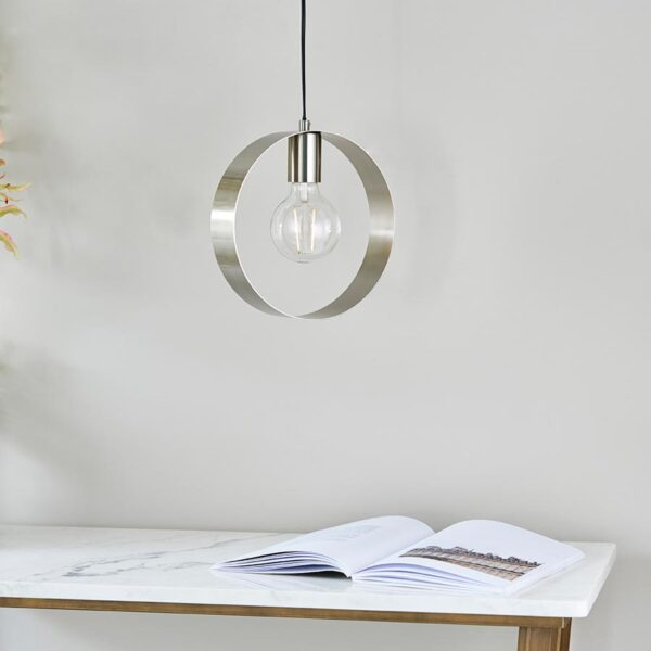 Endon Hoop Contemporary 1 Light Ceiling Pendant Brushed Nickel