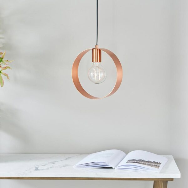 Endon Hoop Contemporary 1 Light Ceiling Pendant Brushed Copper