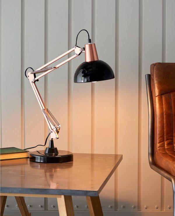 Endon Marshall Adjustable Angle Desk Table Lamp Bronze & Black