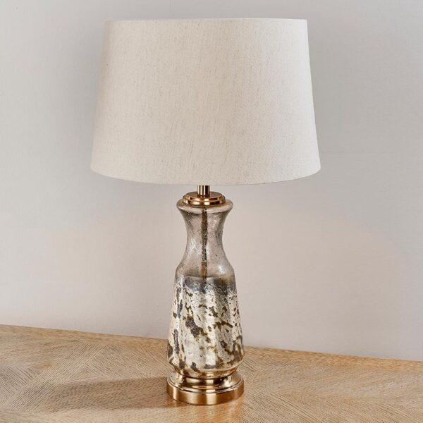 Samuel 1 Light Hammered Foil Glass Table Lamp White Shade