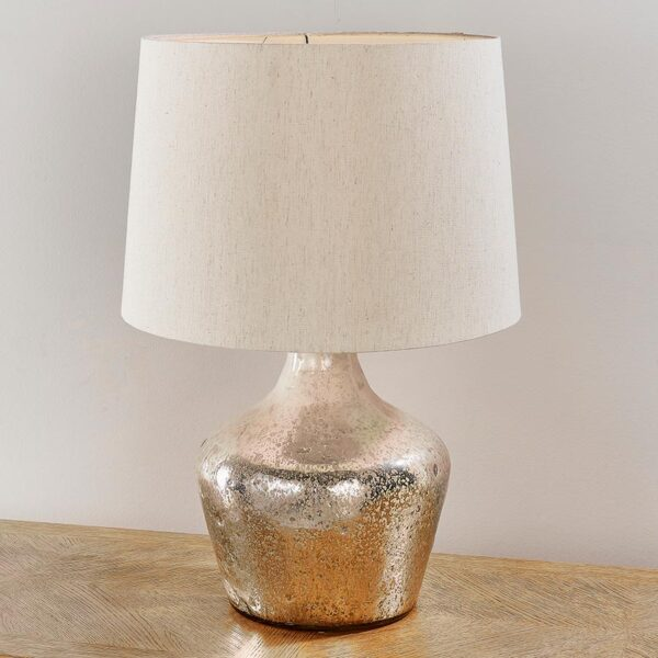 Meteora 1 Light Pearl Ombre Foil Glass Table Lamp White Shade