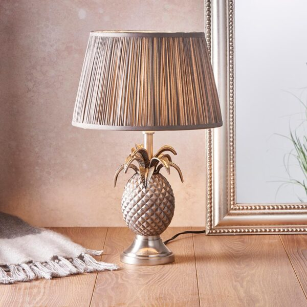 Endon 1 light pewter finish pineapple table lamp pleated charcoal silk shade roomset