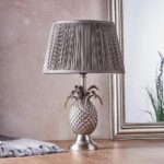 Endon 1 Light Pewter Pineapple Table Lamp Pleated Charcoal Silk Shade