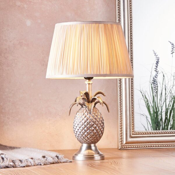 Endon 1 light pewter finish pineapple table lamp pleated oyster silk shade roomset